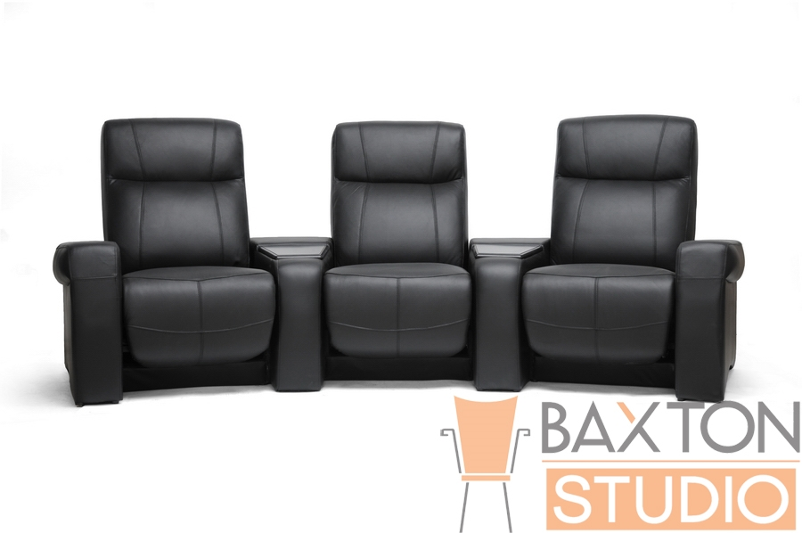 Spotlight Black Leather Home Theater Seating