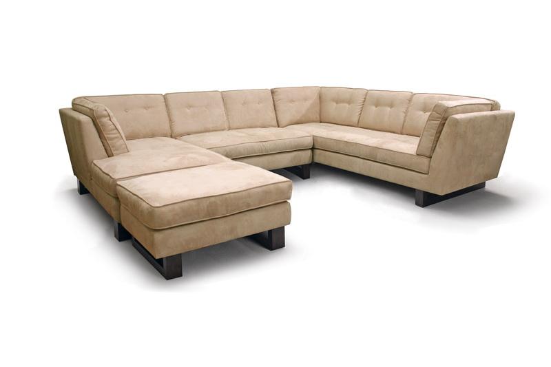 Koelper Beige Microfiber Modern Sectional Sofa Set