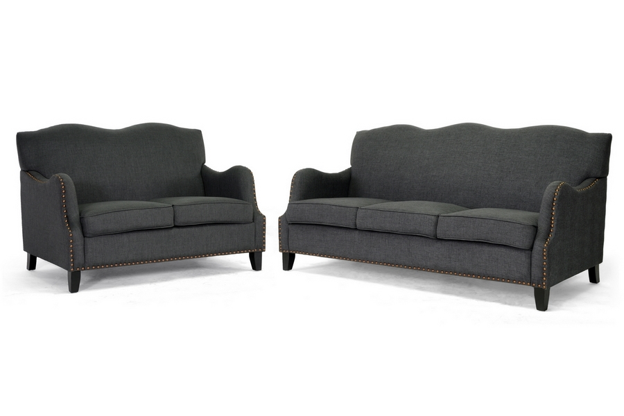 Sofa Sets  Living Room on Gray Linen Sofa Set Baxton Studio Penzance Dark Gray Linen Sofa Set