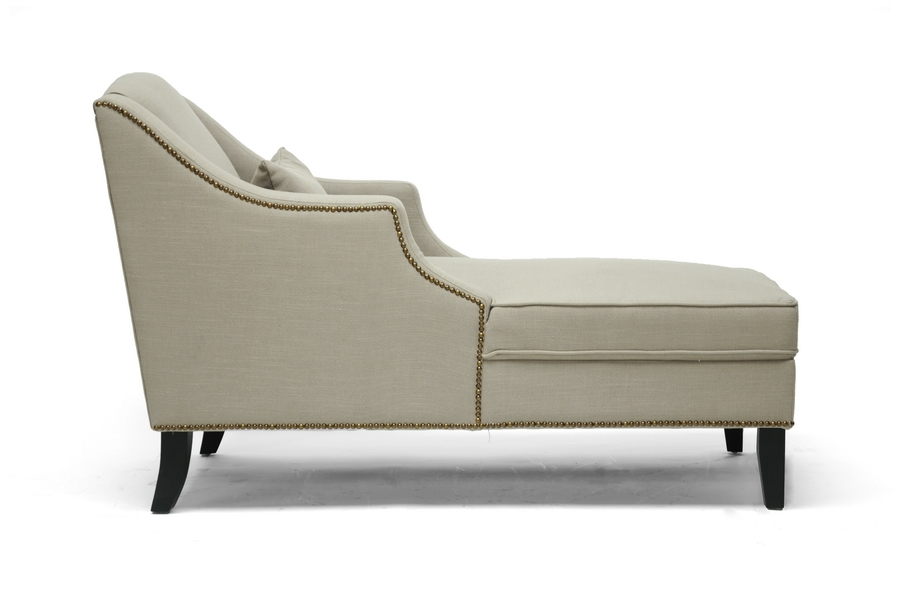 Asteria Putty Gray Linen Modern Chaise Lounge