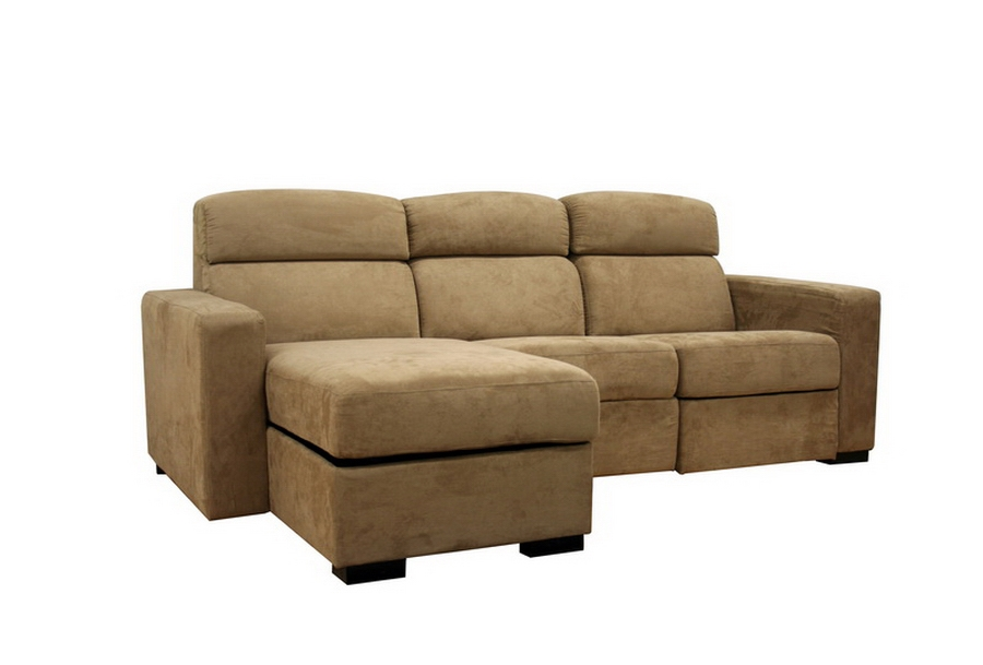 Holcomb Tan Microfiber Reclining Sectional with Storage Chaise Reverse