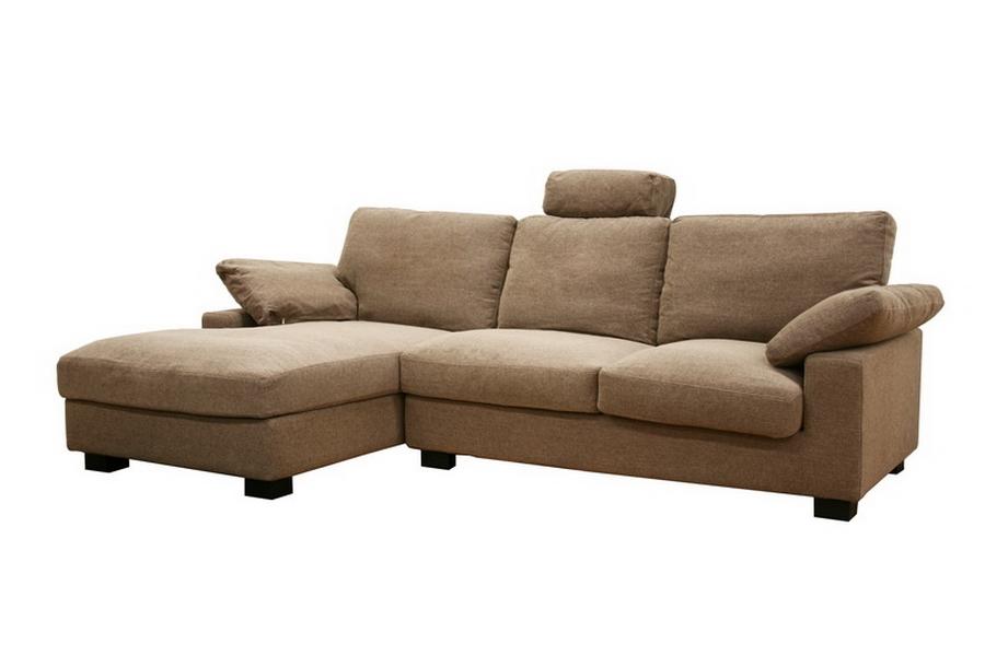 Priscilla Tan Twill Fabric Modern Sectional Sofa