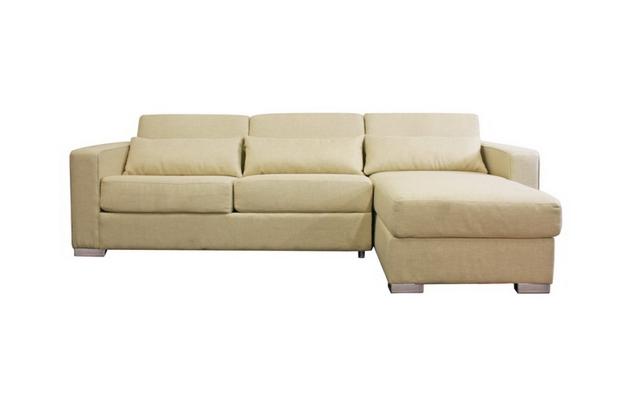 Olcott Cream Twill Modern Sleeper Sofa Sectional with Storage Chaise