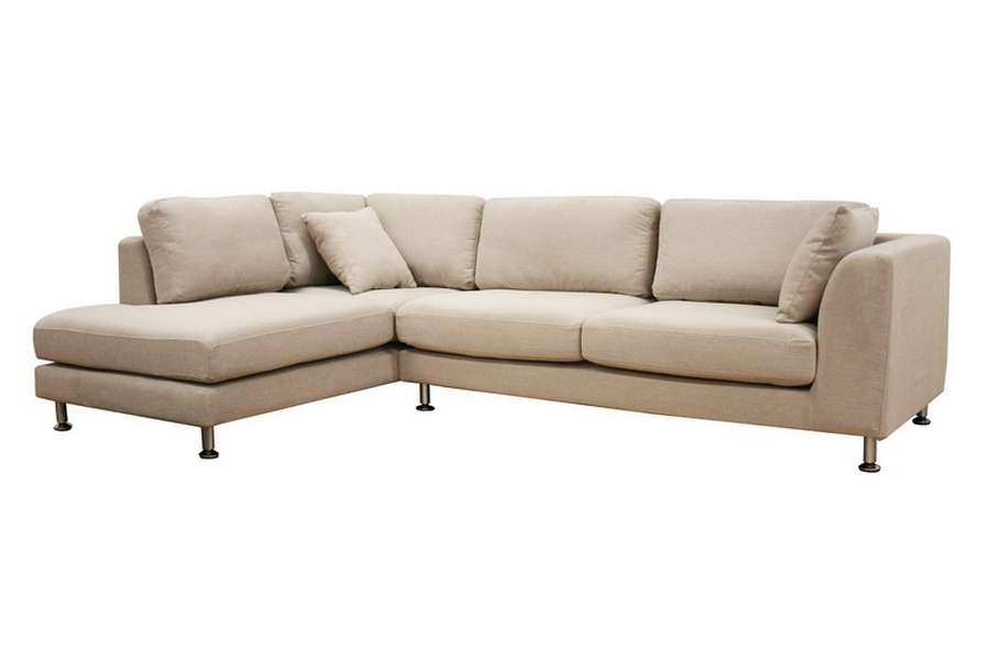 Sterling Cream Twill Fabric Sectional Sofa