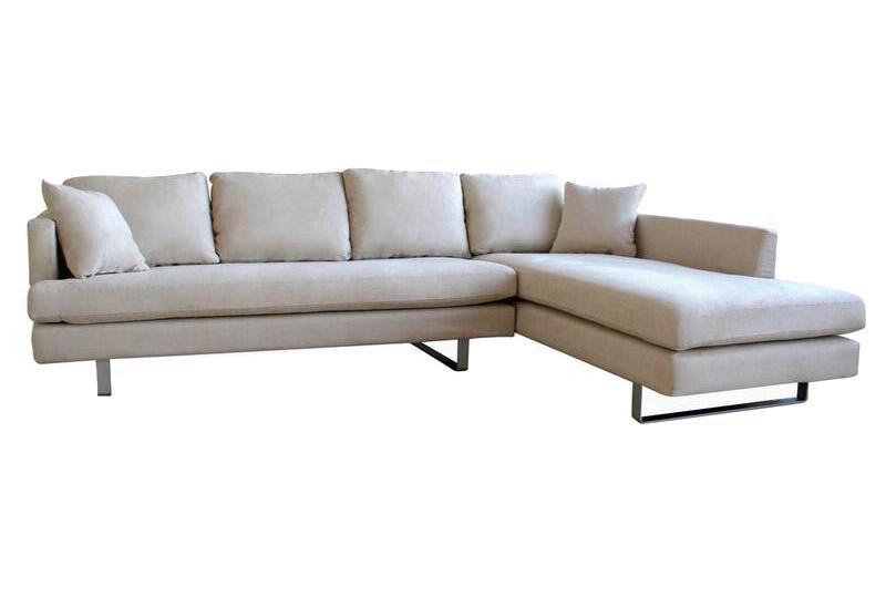Cream Micro Fiber Sectional Sofa with Pillows
