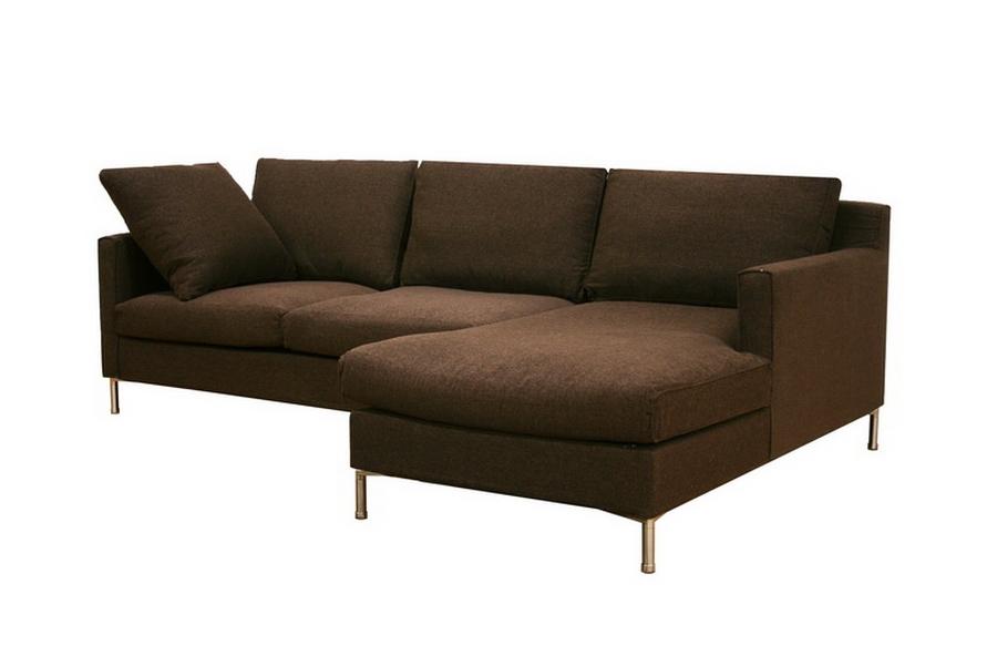Palmyra Brown Twill Fabric Modern Sectional Sofa