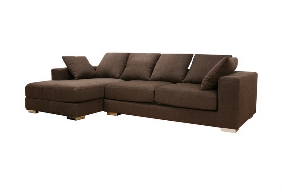 Florence Brown Twill Fabric Modern Sectional Sofa