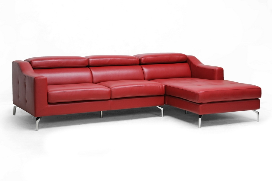 Levi Red Leather Modern Sectional Sofa