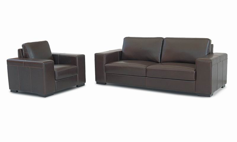 Sofa + 2 Chairs Leather Set