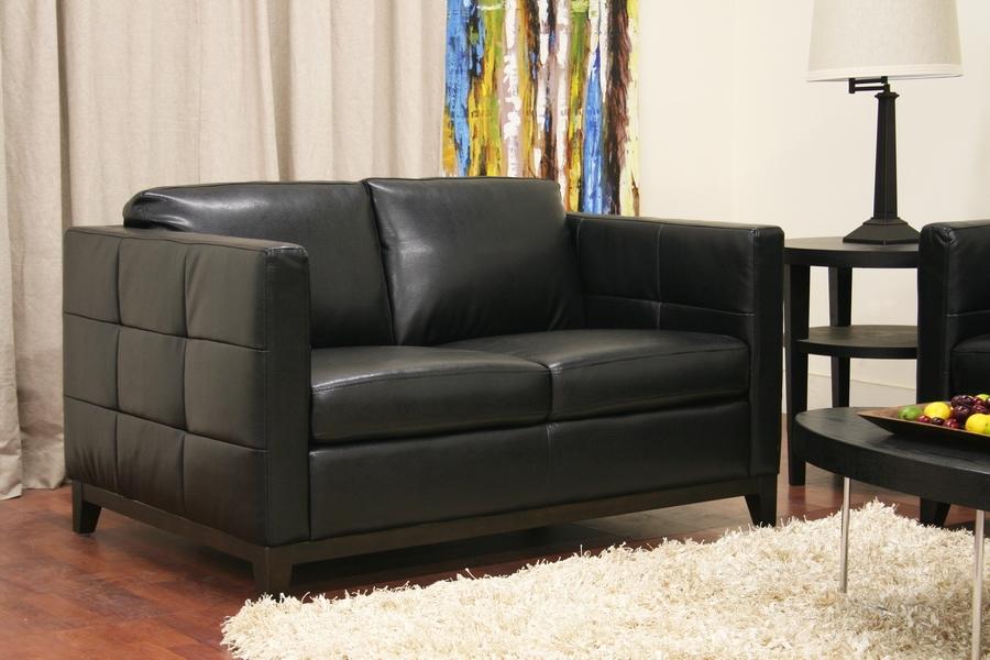 Rohn Black Leather Modern Loveseat