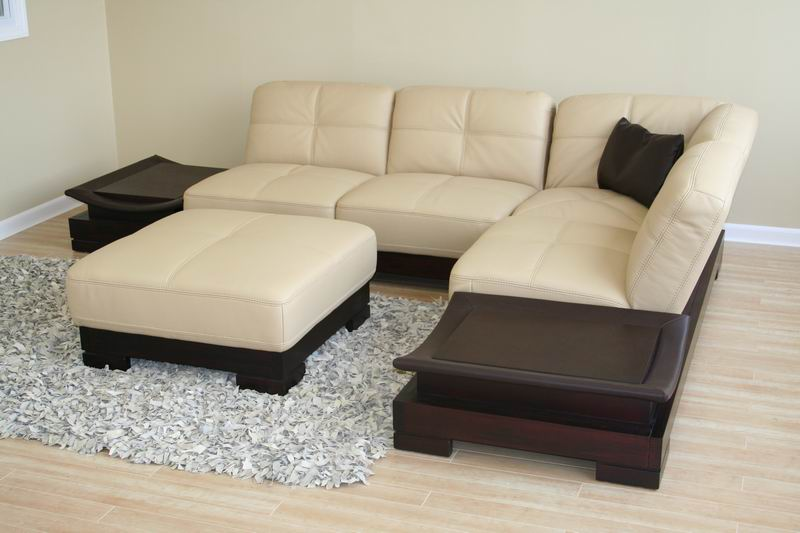 Leather Sectional Sofa 2 Coffee Tables And Ottoman