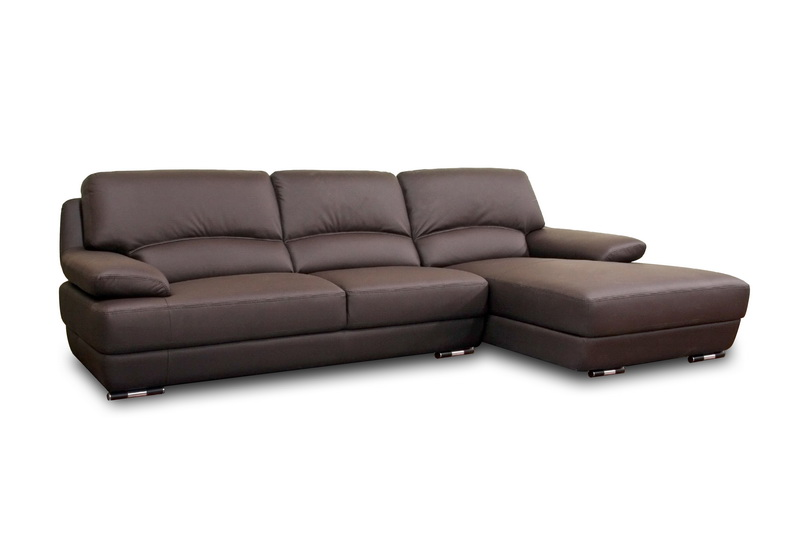 Euclid Brown Leather Modern Sectional Sofa