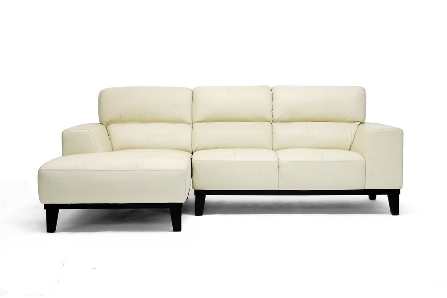 Jacena cream leather modern sectional sofa for Cream leather sofa
