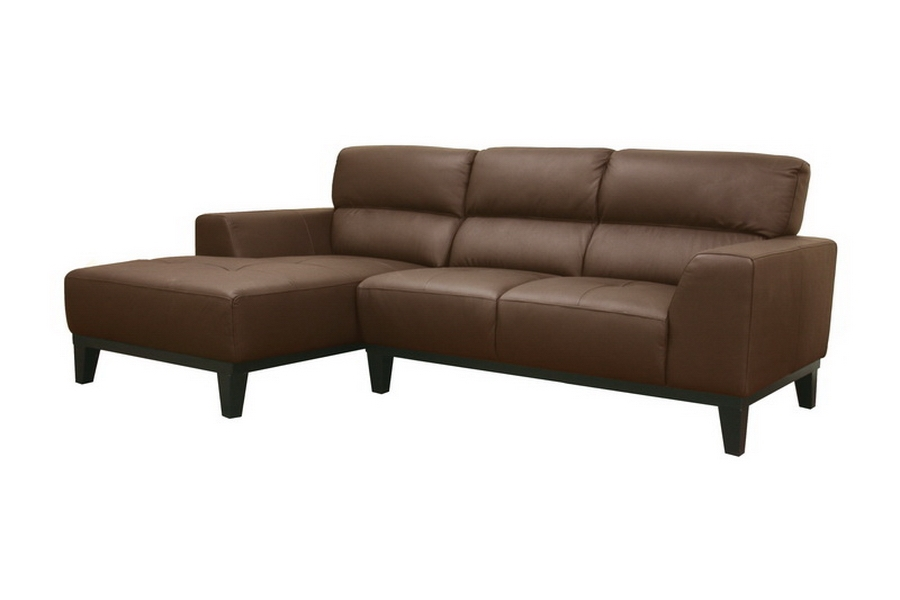 Jocelyn Dark Brown Leather Modern Sectional Sofa