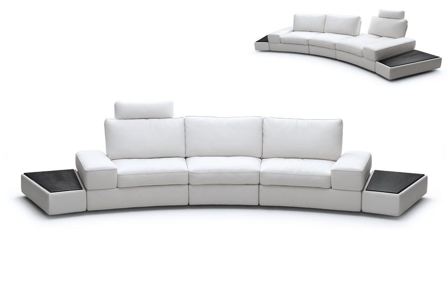 Midori White Leather Modern Sectional Sofa Set with Adjustable Backrests (Large Set)