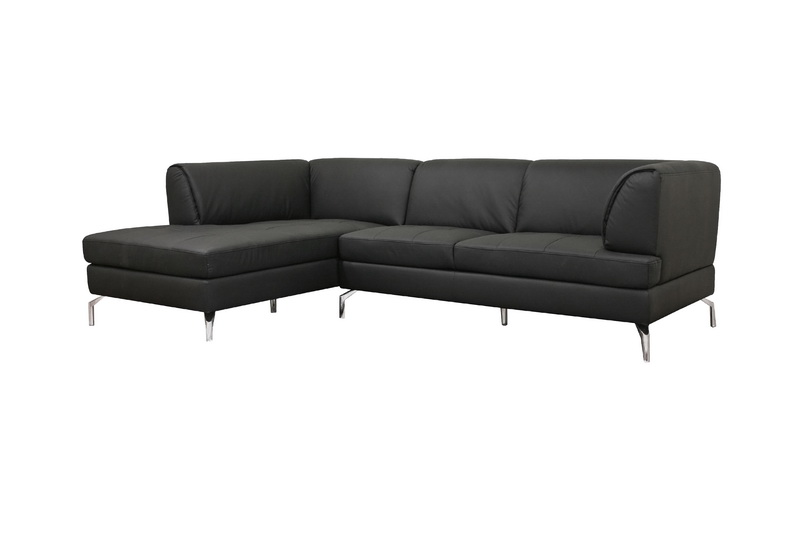 Godfrey Black Leather Modern Sectional Sofa