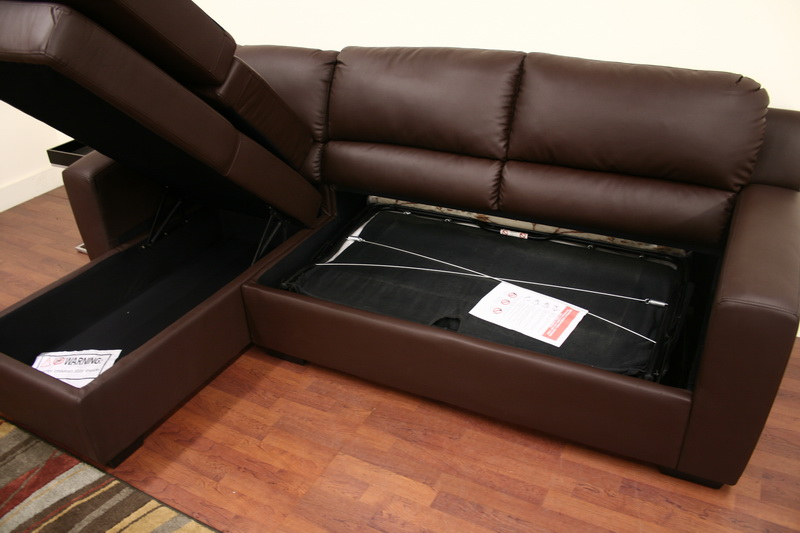 Sophie brown sofa modern bed sectional left chaise ebay for Brown chaise sofa bed
