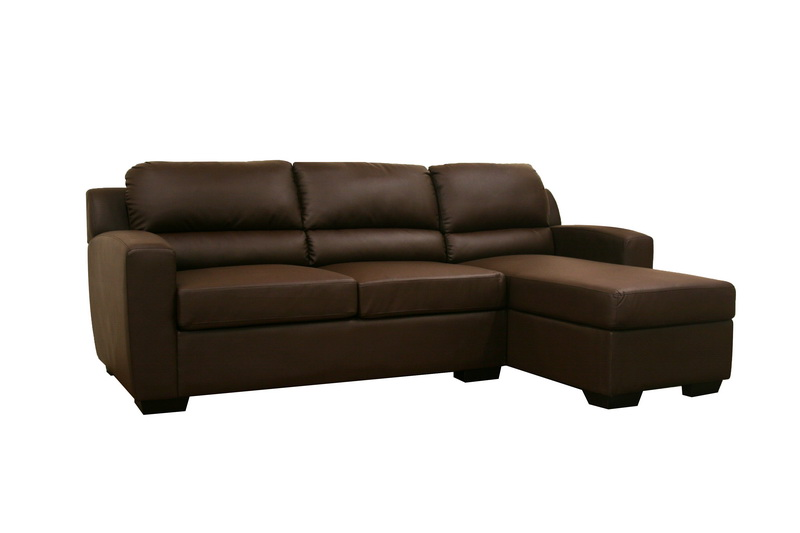 Sophie brown modern sofa bed sectional right chaise for Brown chaise sofa bed