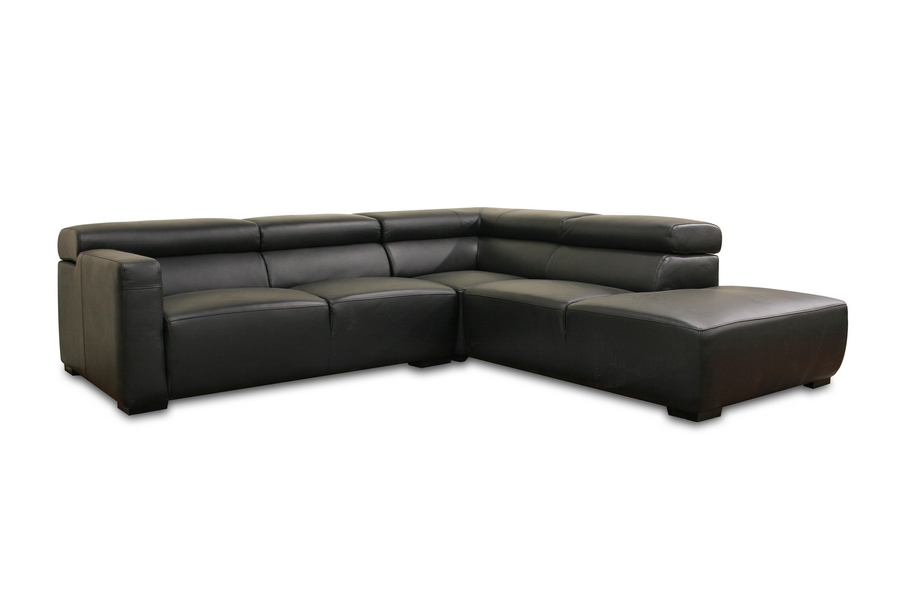 Lisa Modern Black Leather Sectional Sofa with Adjustable Headrests