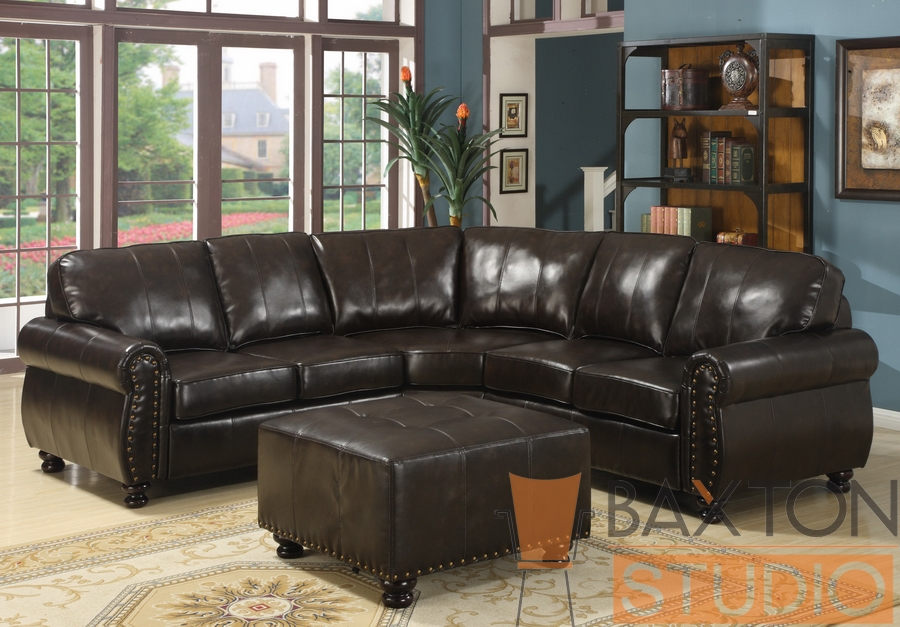 Hammond Brown Leather Modern Sectional Sofa