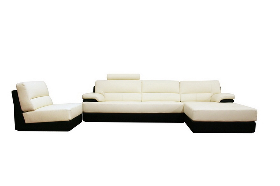 Juliana Cream Leather Modern Sectional Sofa and Chair Set