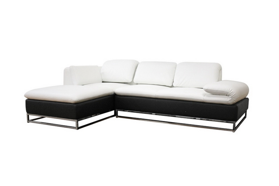 Elle White Leather Modern Sectional Sofa