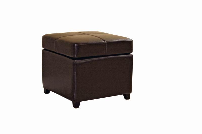 Dark Brown Full Leather Storage Cube Ottoman