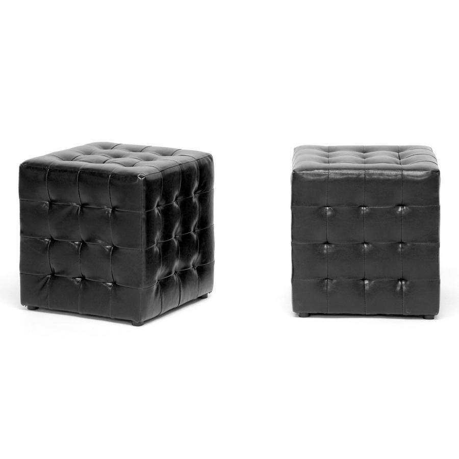 Siskal Black-Dark Brown-Red-White Modern Cube Ottoman (Set of 2)