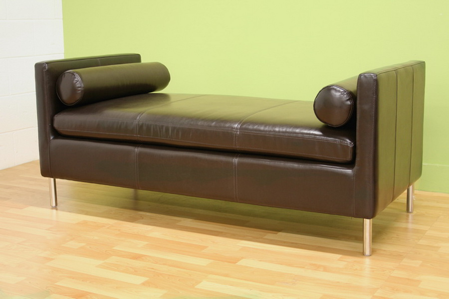 Chrissie dark brown bench modern contemporary ebay for Without back sofa