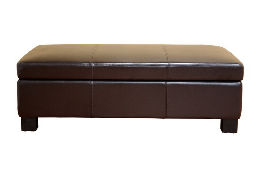 Gallo Dark Brown Leather Storage Ottoman