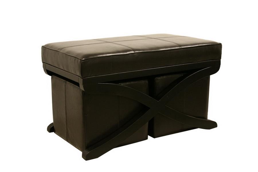Dominique Brown Faux Leather Modern Ottoman / Bench 3-Piece Set