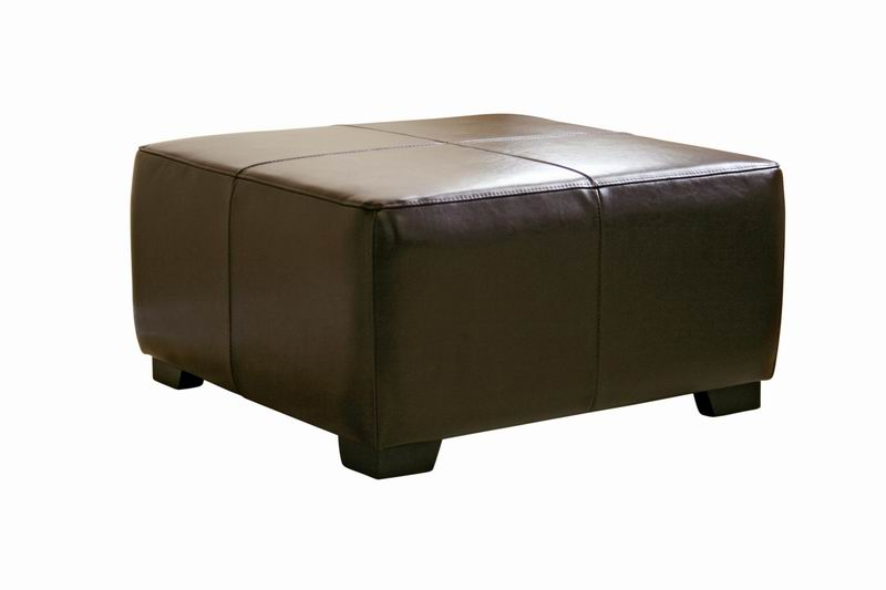 Dark Brown Full Leather Square Ottoman Footstool