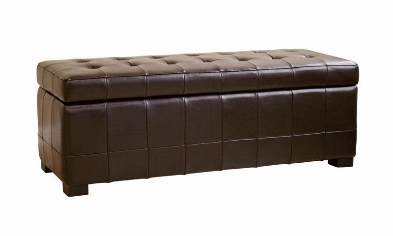 Dark Brown Full Leather Storage Bench Ottoman with Dimples
