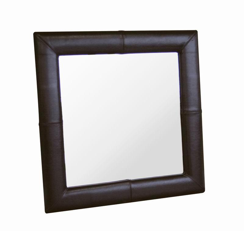Square Espresso Brown Leather Mirror