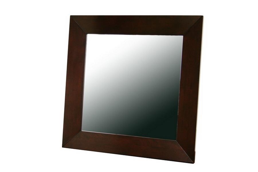 Doniea Dark Brown Wood Frame Modern Mirror - Square
