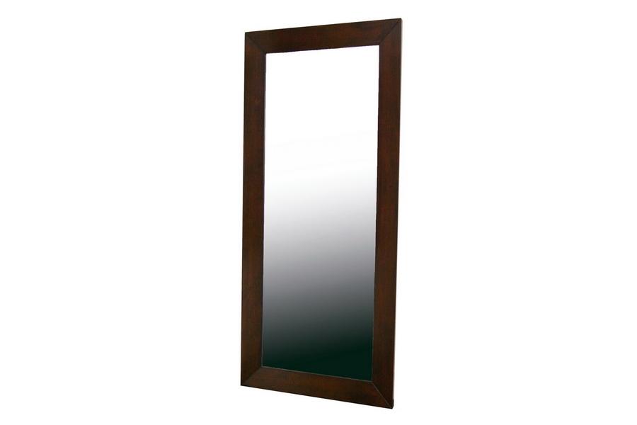 Doniea Dark Brown Wood Frame Modern Mirror - Rectangle