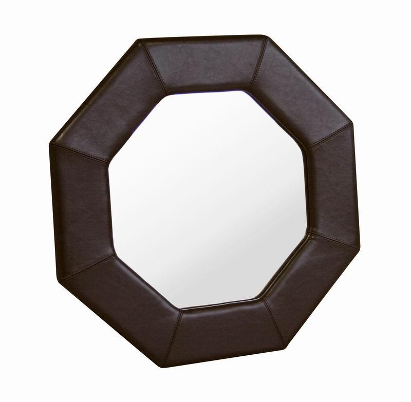 Octogon Espresso Brown Leather Mirror