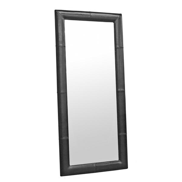 Floor Mirror with Black - Cream - Dark Brown Leather Frame