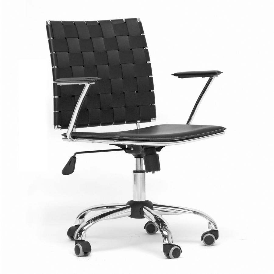 Vittoria Black-White Leather Modern Office Chair