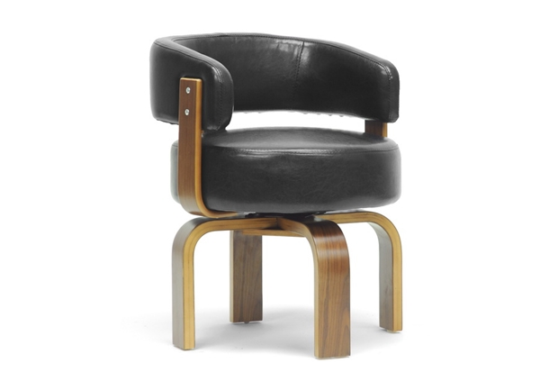 Baxton Studio Fortson Walnut And Black Modern Accent Chair Wholesale Interiors