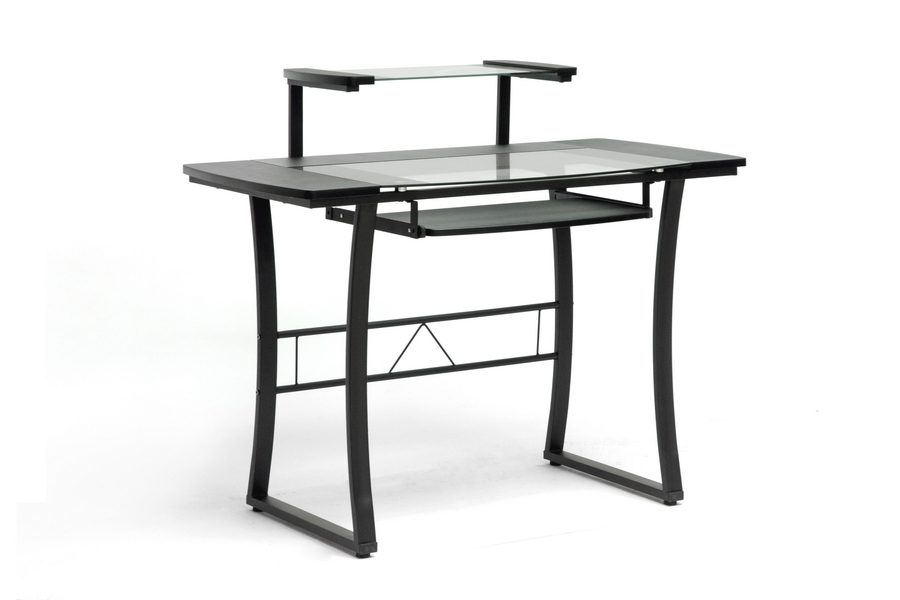 Paulson Black Steel Modern Computer Desk with Glass Desktop