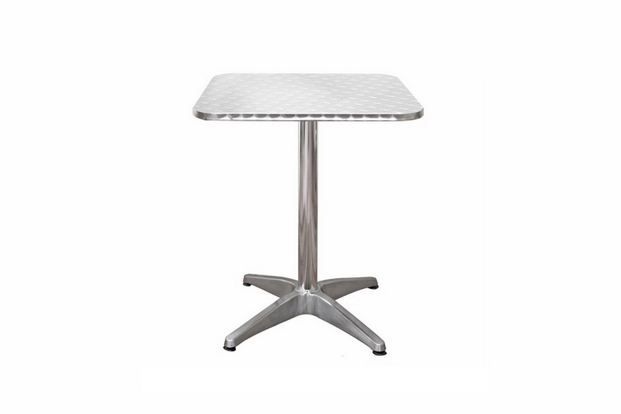 Inox Aluminum Modern Cafe Table with Square Silver Top