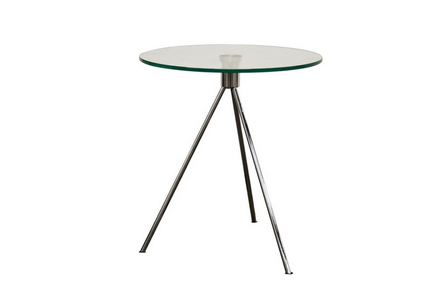 Round Glass Top End Table with Tripod Base