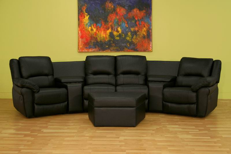 Home Theater Seating Curved Row of 4 Black - 8327