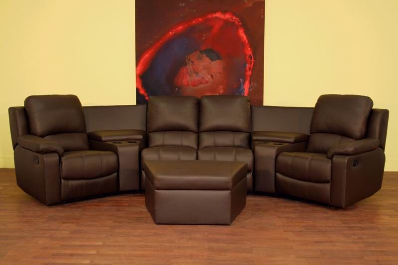 Home Theater Seating Curved Row of 4 Brown - 8802