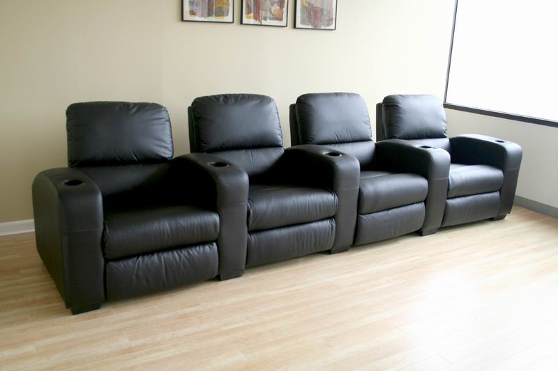 Row of 4 - Showtime Theatre Sectional - Black