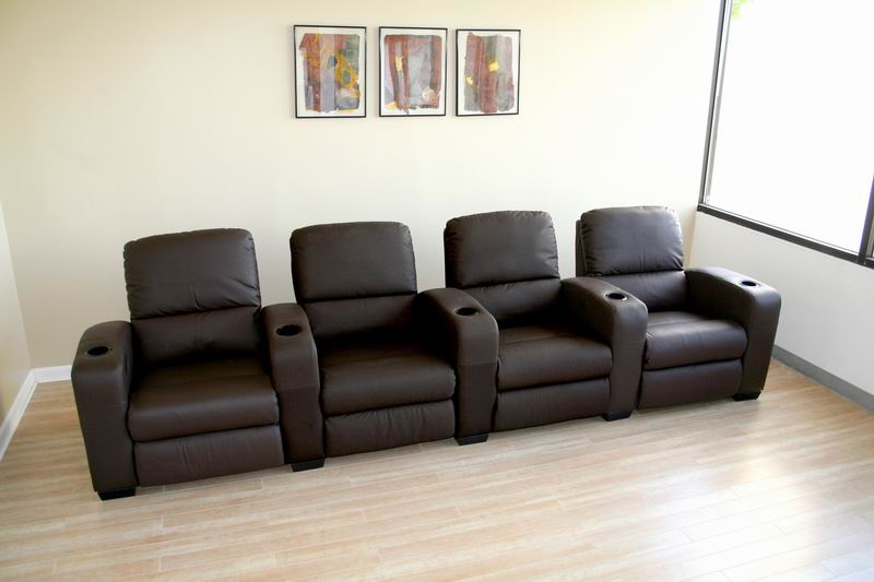 Row of 4 - Showtime Theatre Sectional - Brown