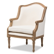 Baxton Studio Charlemagne Traditional French Accent Chair-Oak
