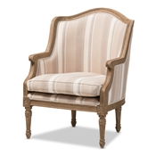 Baxton Studio Charlemagne Traditional French Accent Chair-Oak (Brown Stripe)