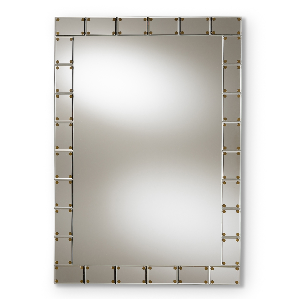 Baxton Studio Almeria Modern and Contemporary Silver Finished Rectangular Tile Accent Wall Mirror
